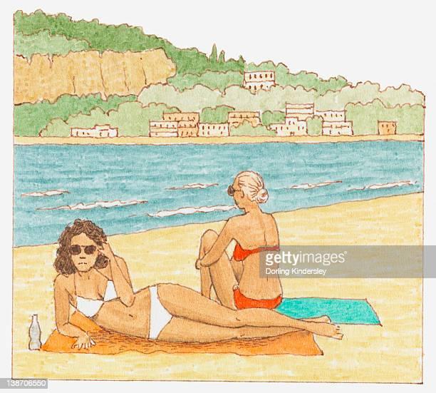 illustrations, cliparts, dessins animés et icônes de illustration of two women sunbathing on beach - bain de soleil
