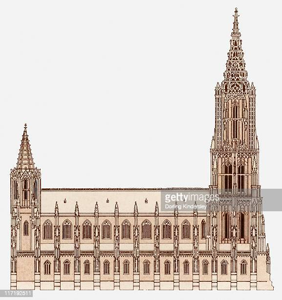 ilustrações, clipart, desenhos animados e ícones de illustration of ulm minster in germany, which has the tallest spire in the world - spire