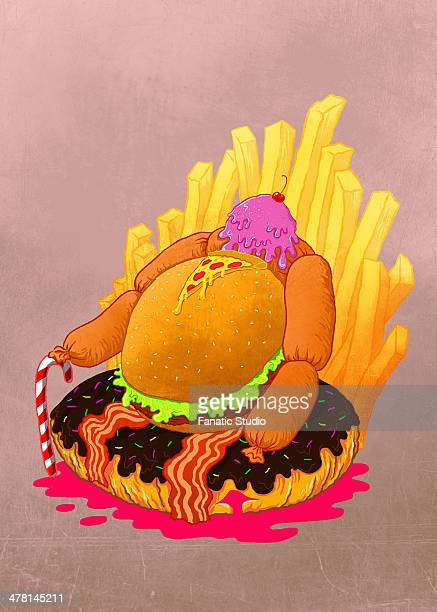 illustration of unhealthy eating against colored background - unhealthy living stock illustrations, clip art, cartoons, & icons
