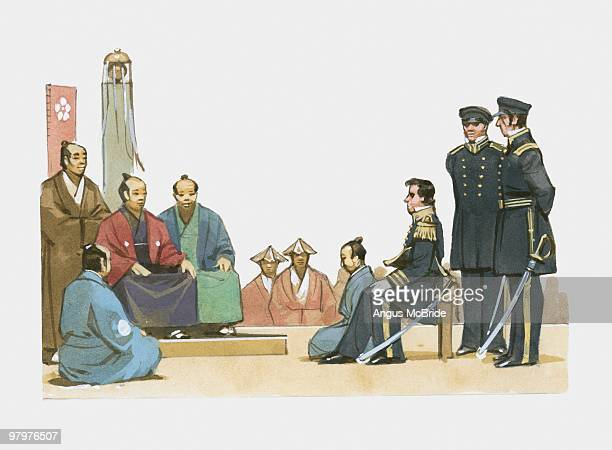 illustration of us navy commodore perry negotiating with japanese leaders in 1853 - us navy stock illustrations, clip art, cartoons, & icons