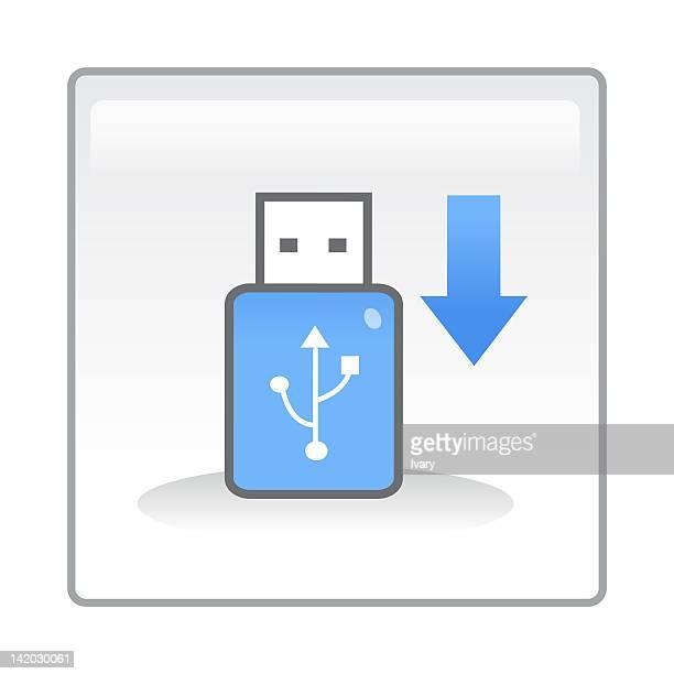 ilustrações, clipart, desenhos animados e ícones de illustration of usb cable and arrow sign moving down - usb cable