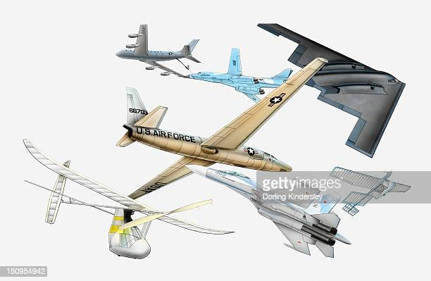 illustration of various aircraft, douglas dc-8 refuelling a b-1 aircraft mid-air, u-2 spy plane, b-2 stealth bomber, mit daedalus, sukhoi su-27, solar challenger - us air force stock illustrations, clip art, cartoons, & icons