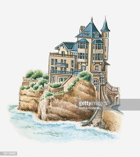 illustration of villa belza, biarritz, pyrenees-atlantiques, france - en búsqueda stock illustrations