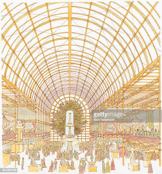 illustration of visitors at great exhibition of 1851 inside crystal palace - great exhibition stock illustrations, clip art, cartoons, & icons