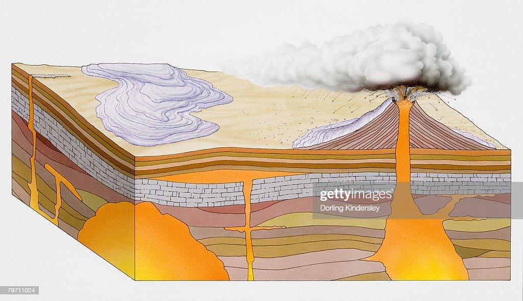 Illustration of volcano : stock illustration