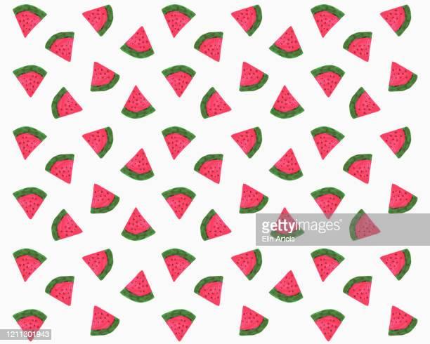 illustrations, cliparts, dessins animés et icônes de illustration of watermelon slices on white background - pastèque