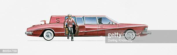 Illustration of wealthy man getting out of limousine door