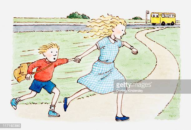 Illustration of woman and boy running after school bus