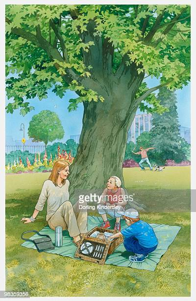 illustration of woman and two children sitting on picnic blanket in urban park - picnic blanket stock illustrations, clip art, cartoons, & icons