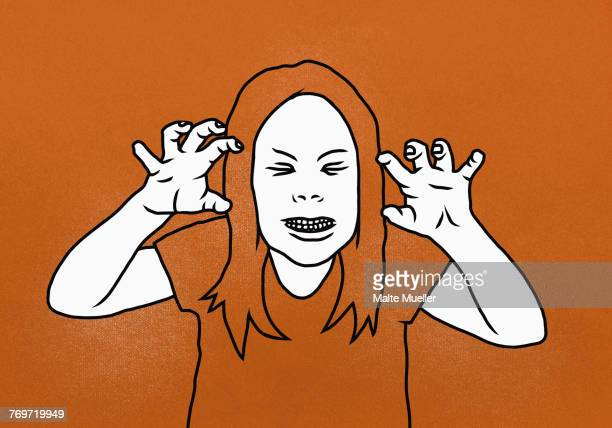 Illustration of woman clenching teeth while gesturing against orange background