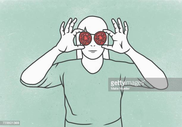 illustration of woman covering eyes with tomato slices against colored background - body conscious stock illustrations, clip art, cartoons, & icons