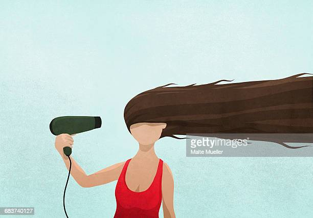 Illustration of woman drying long hair with blow dryer against blue background