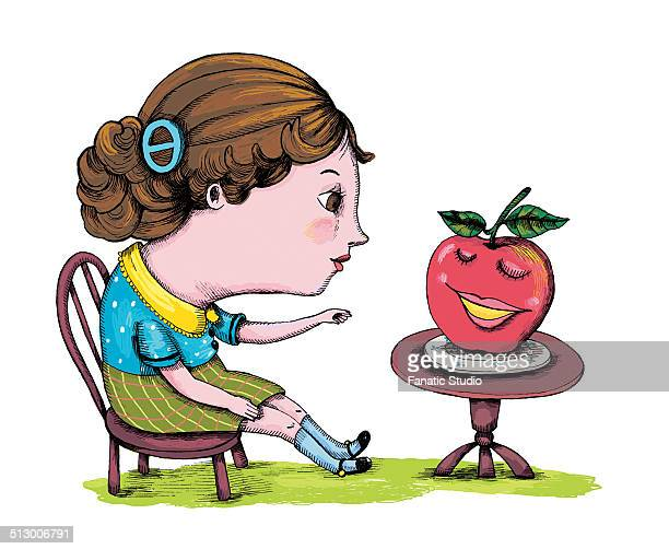 illustration of woman having apple over white background - hair bun stock illustrations, clip art, cartoons, & icons