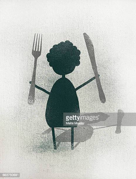 illustration of woman holding fork and knife while standing against white background - social grace stock illustrations, clip art, cartoons, & icons