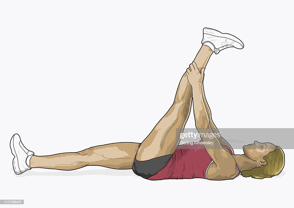 Illustration of woman lying on back holding leg in air in hamstring stretch : stock illustration