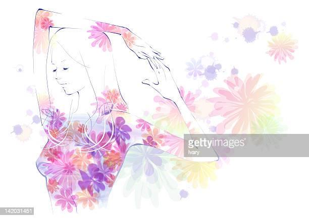 ilustraciones, imágenes clip art, dibujos animados e iconos de stock de illustration of woman on floral pattern - miembro humano