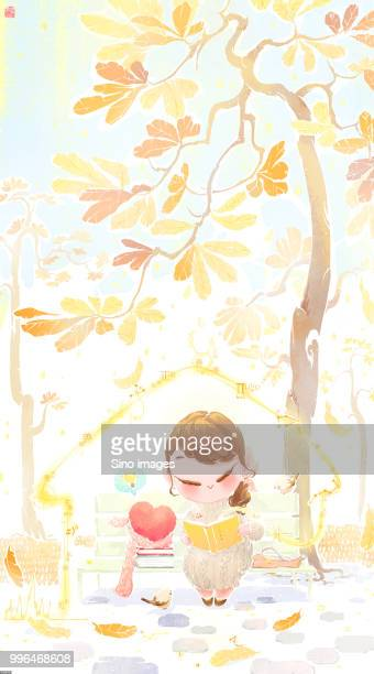 Illustration of woman reading book on park bench in autumn