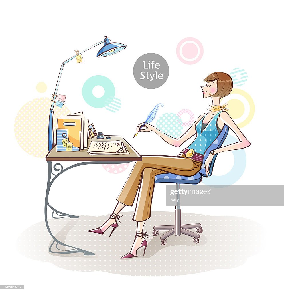 illustration of woman sitting on chair and writing letter stock illustration