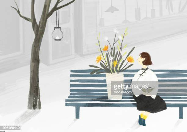 Illustration of woman sitting on park bench with flowers
