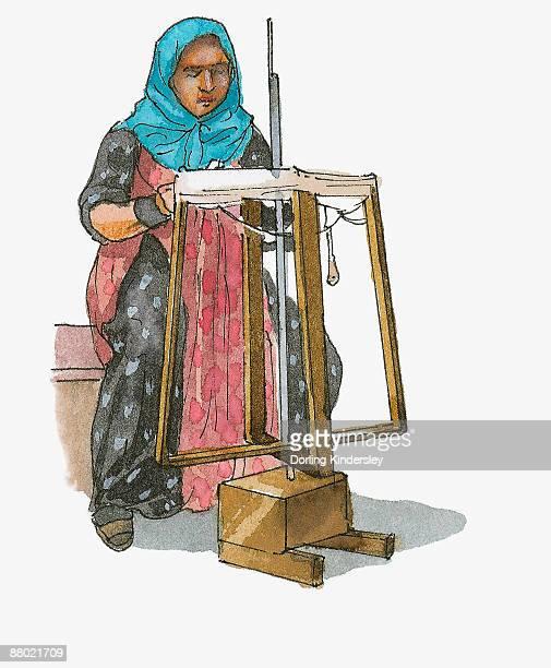Illustration of woman spinning wool on traditional loom, Turkey