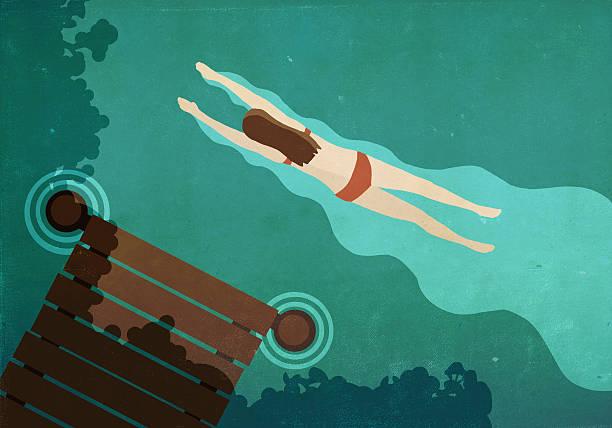Illustration of woman swimming in lake