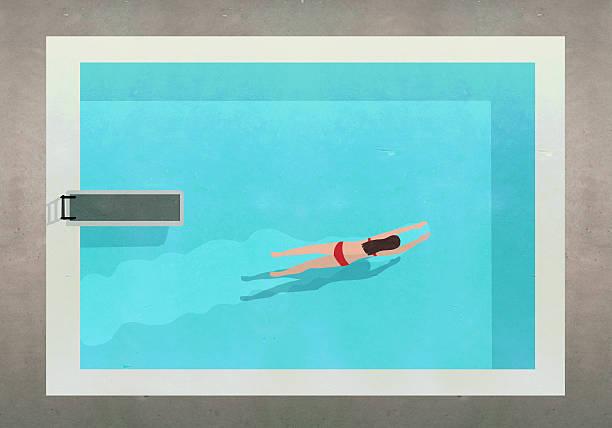 Illustration of woman swimming in pool at resort