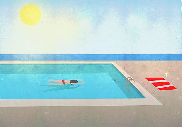 Illustration of woman swimming in pool at resort on sunny day