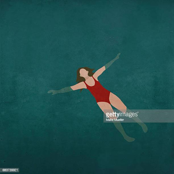 Illustration of woman swimming in water