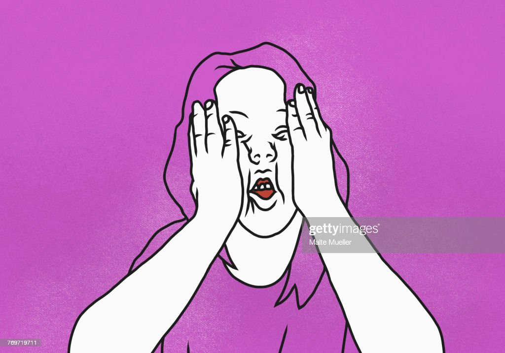 Illustration of woman with head in hands against pink background : stock illustration