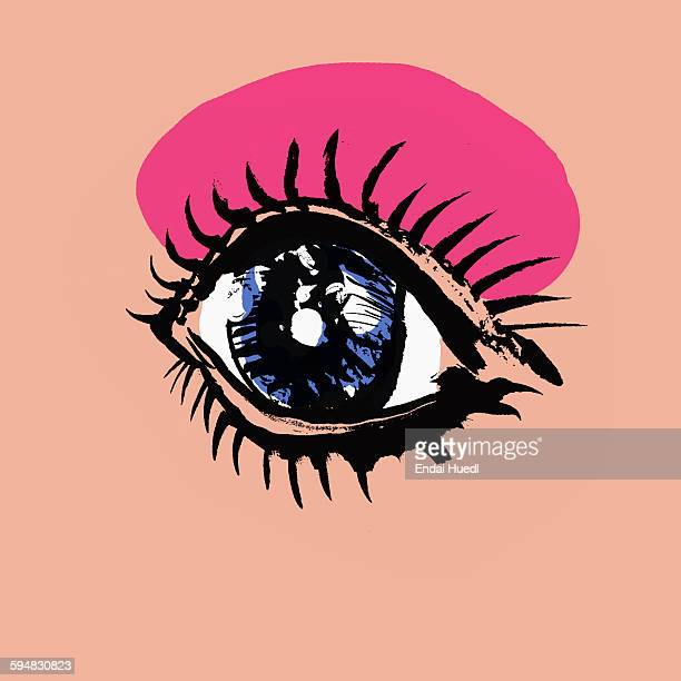 illustration of womans eye with makeup against pink background - beauty stock illustrations