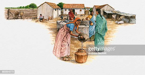 Illustration of women standing in courtyard near well, pouring water, and man ploughing field in Indian village