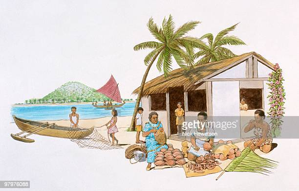 Illustration of women with coconuts and palm leaves outside house with thatched on Pacific ocean isl