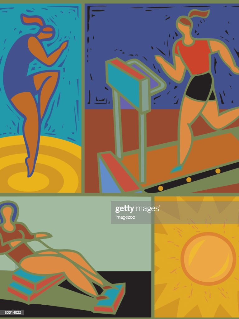 Illustration of women working out : stock illustration