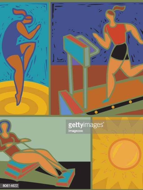 illustration of women working out - aerobics instructor stock illustrations, clip art, cartoons, & icons