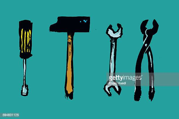 illustration of work tools against blue background - carpentry stock illustrations