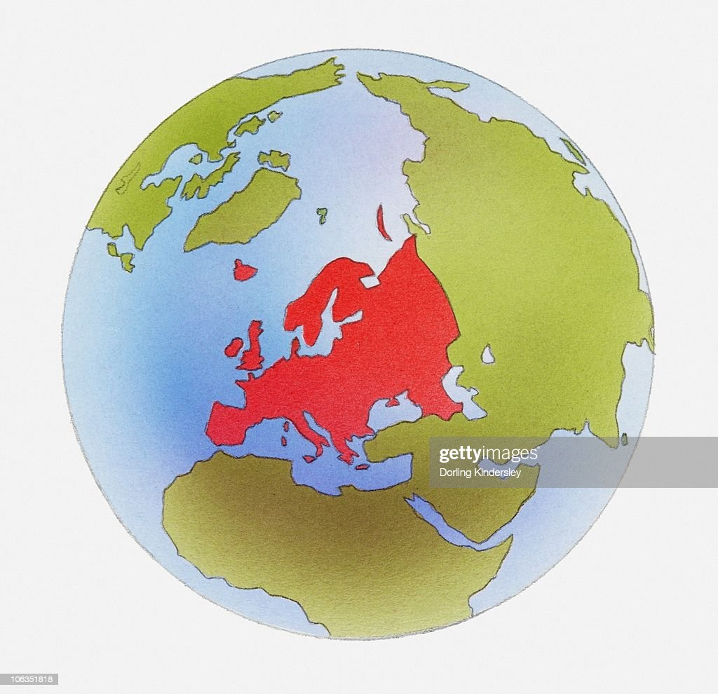 Illustration of world map with europe highlighted in red stock illustration of world map with europe highlighted in red stock illustration gumiabroncs Choice Image
