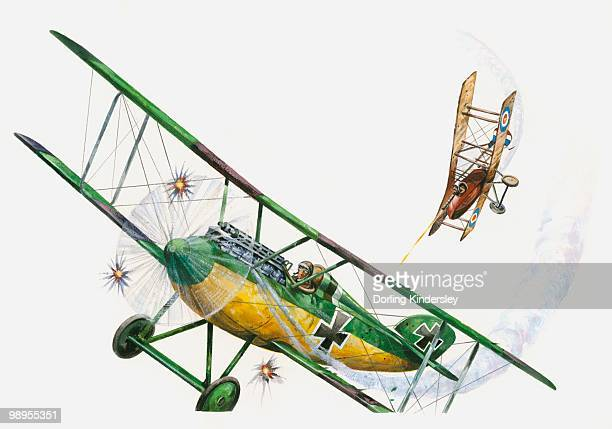 Illustration of World War One RAF Sopwith Camel pursuing German Fokker aeroplane
