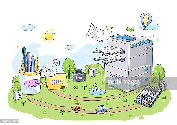 illustration of xerox machine and office stationeries - desk organizer stock illustrations, clip art, cartoons, & icons