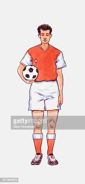 Illustration of young man wearing red and white football strip, holding football