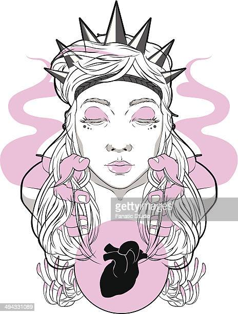 illustration of young woman with hands controlling heart over white background - obsessive stock illustrations, clip art, cartoons, & icons