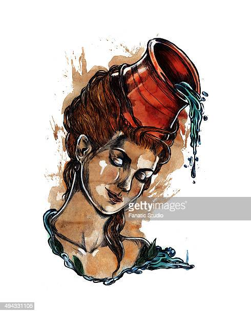 Illustration of young woman with pot pouring water representing Aquarius zodiac sign