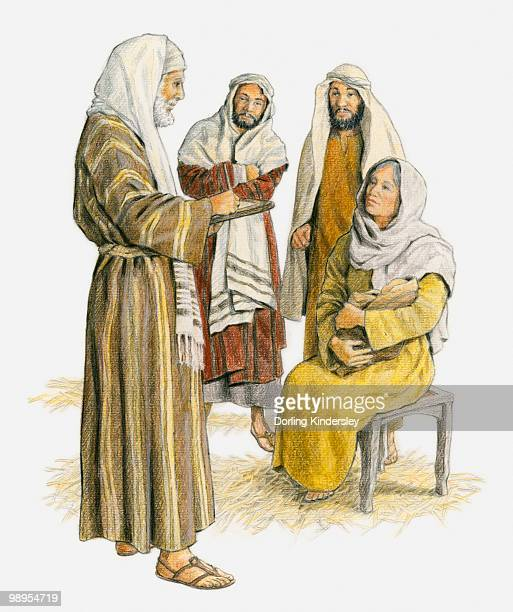 ilustraciones, imágenes clip art, dibujos animados e iconos de stock de illustration of zechariah standing in front of a seated elizabeth who is holding her baby, and writing on tablet because he is still unable to speak - san juan bautista