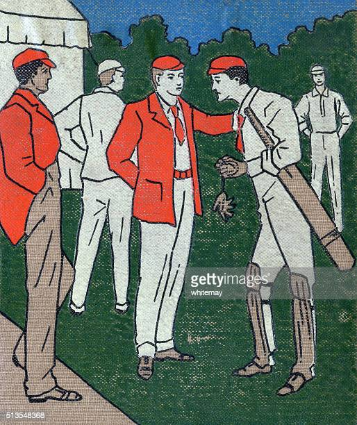 Illustration on cloth of a cricket team