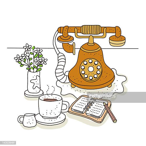 illustration on landline phone and coffee cup - phone cord stock illustrations, clip art, cartoons, & icons