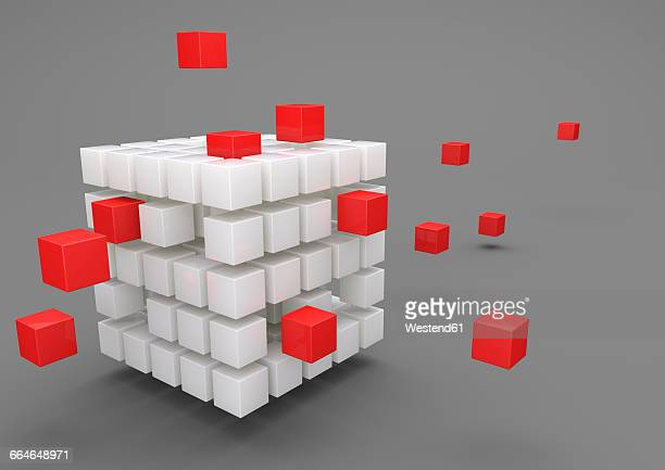 3D Illustration, Outsourcing, porcelain cubes with red cubes on gray background