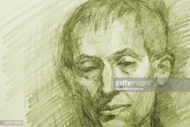 illustration bleistiftzeichnung porträt eines älteren mannes in grünlichen tönen - europäischer abstammung stock-grafiken, -clipart, -cartoons und -symbole