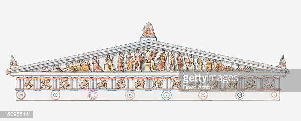 illustration, reconstruction of eastern front of the parthenon, showing the birth of athena - pediment stock illustrations, clip art, cartoons, & icons