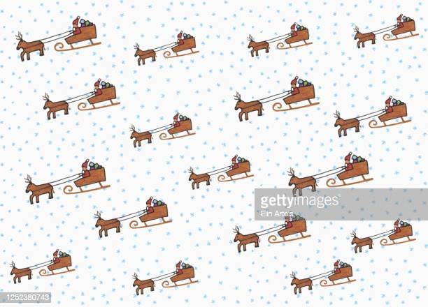 illustration santa claus and sleigh pattern on white background - {{ contactusnotification.cta }} stock illustrations