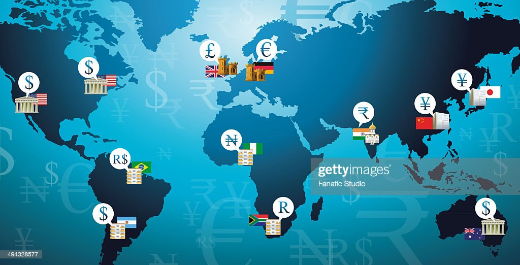Illustration Shot Of Currency Symbols Representing Countries In A