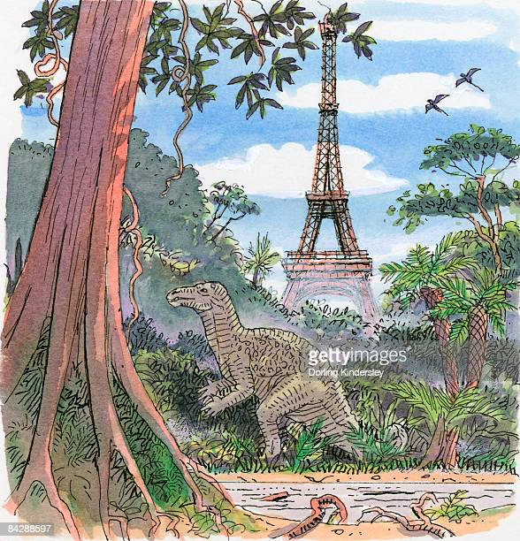 illustration showing dinosaur in humid climate with eiffel tower in background - humidity stock illustrations, clip art, cartoons, & icons